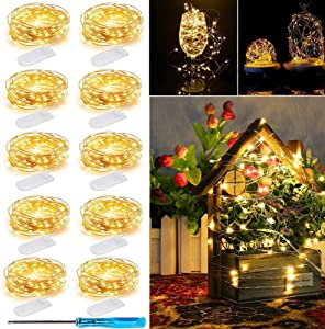 LED Fairy String Lights, 10 Pack 20 LED Micro Starry Lights Waterproof Silver Wire Battery Operated Lights Firefly Lights Bottle Lights for Bedroom Garden Party Xmas (10 Pack, Warm White)