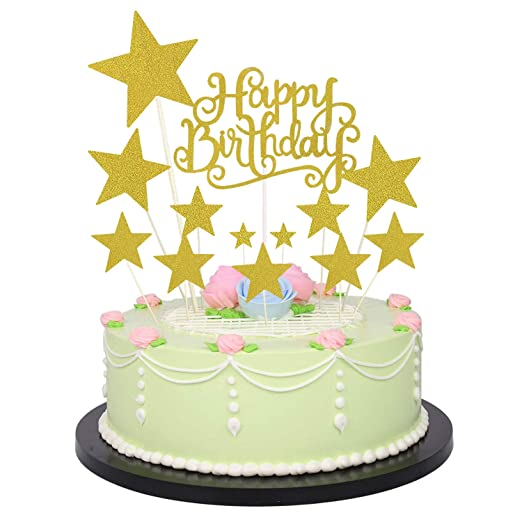 Allazone Decoraciones para Tarta, 1 Pz Oro Happy Birthday y 12 Pz Doradas Estrellas, Happy Birthday Topper Decoración para Cumpleaños Baby Shower ...