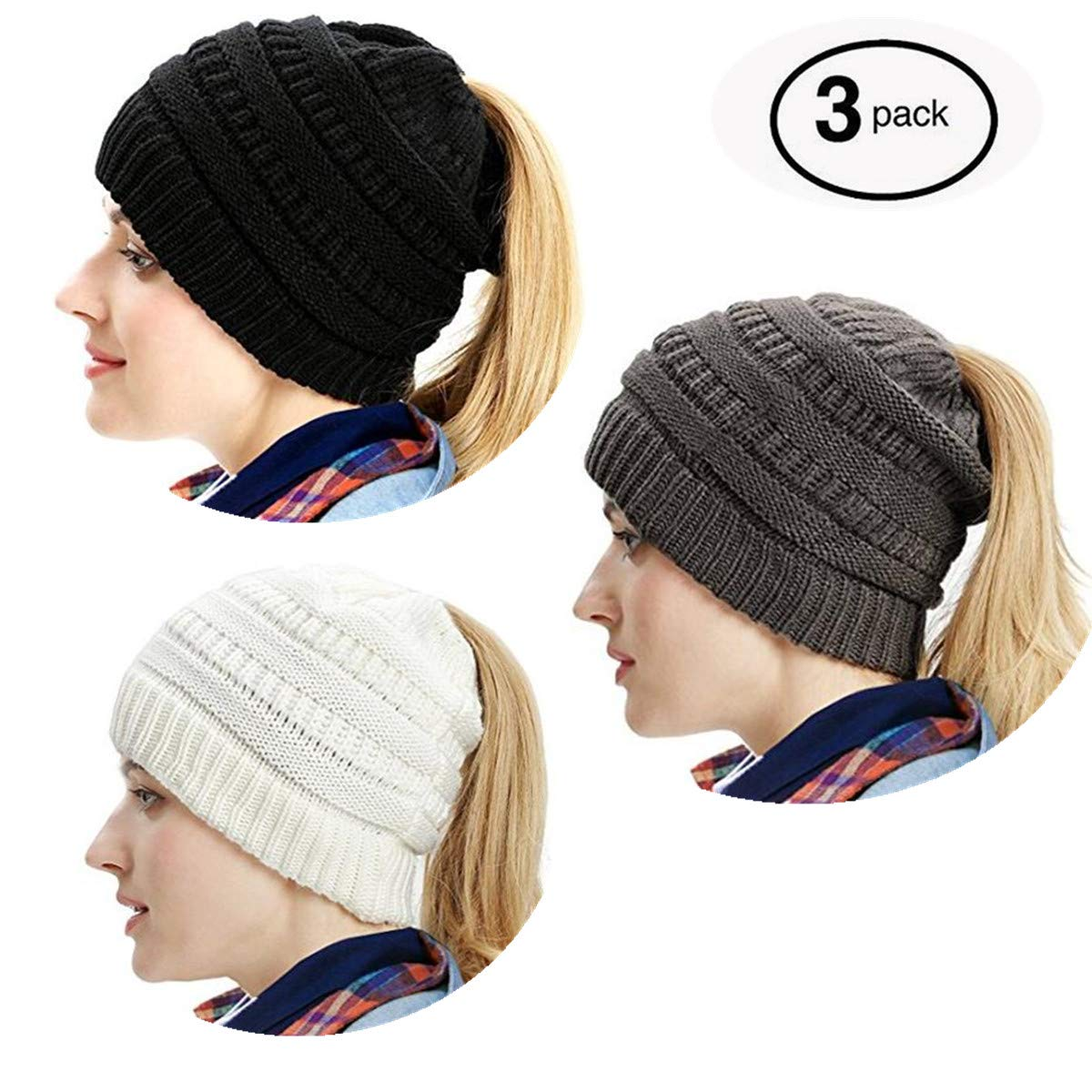 b0fdcea6f1c Gagget Women s Winter Knit Cup Beanie Tail Ponytail Winter Warm Stretch  Cable Messy High Bun Knit Hat (Black+White+Grey) at Amazon Women s Clothing  store