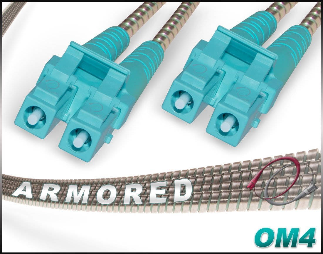 FiberCablesDirect - 7M OM4 LC LC Fiber Patch Cable | Armored 100G Duplex 50/125 LC to LC Multimode Jumper 7 Meter (22.97ft) | Length Options: 0.5M-300M | ofnr mmf dplx lc/lc rugged patch-cord 40/100gb