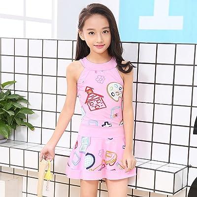 c8a1f6d34c420 BERTERI One-Piece Cute Swimsuit Bathing Suits Bikini Swimwear for Baby Girls /Kid/Children Take Photos Summmer Beach Outfit Pink Yellow 3-10 Years Old