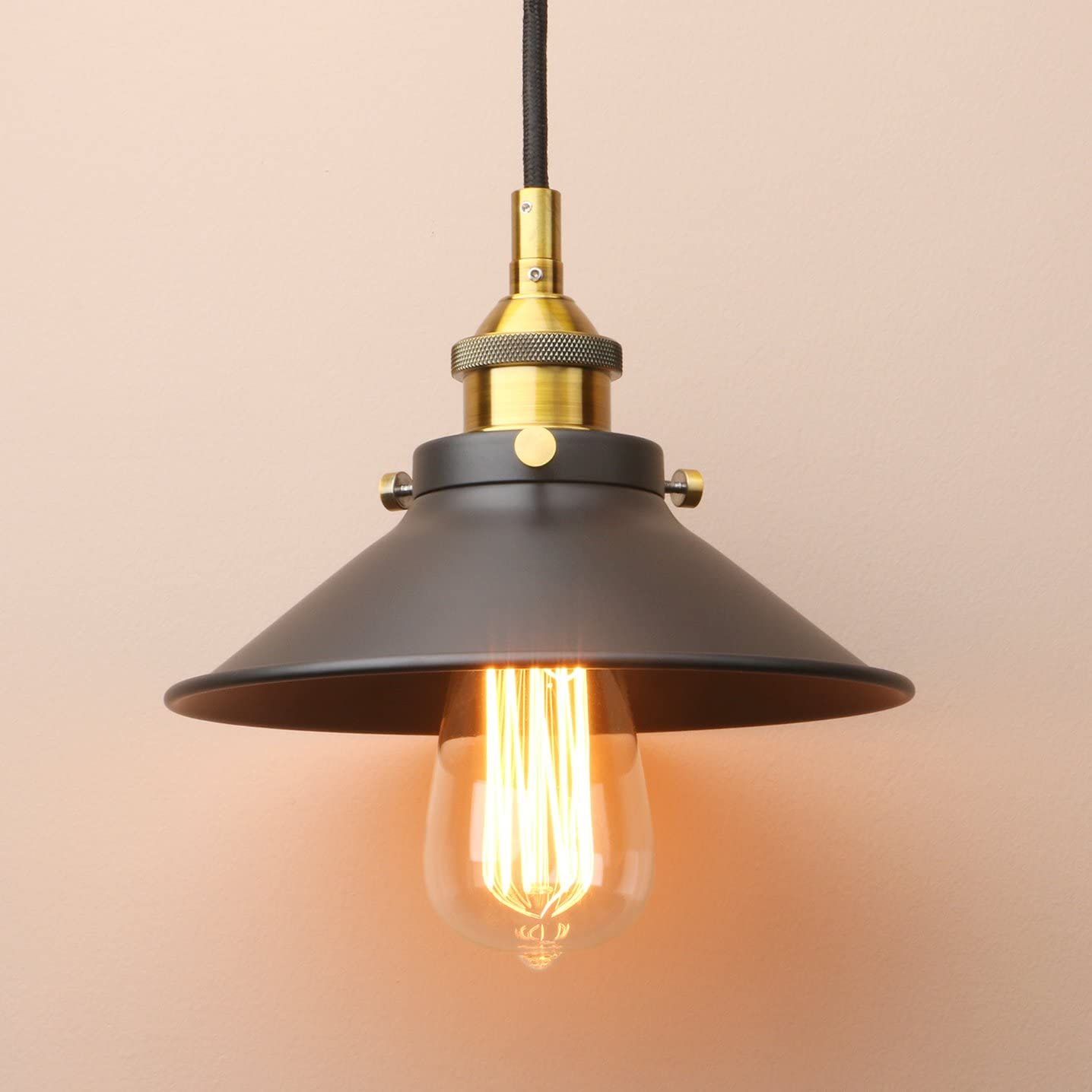 Permo Vintage Industrial Pendant Hanging Ceiling Lighting Fixture with Black Metal Funnel Shade