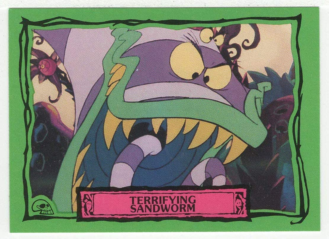 Amazon Com Terrifying Sandworm Beetlejuice Trading Card 51 Dart Flipcards 1990 Mint Toys Games