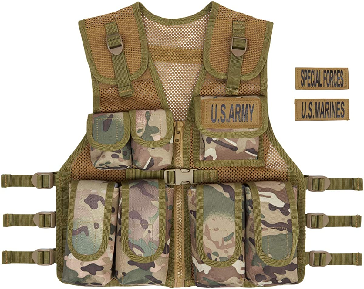 Kids Camouflage Assault Multi Pockets Vest Army Military Vest One size Fits All