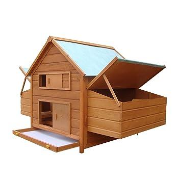 Jaula de Pollo de madera de PawHut exterior aves Coop Gallinas Patos Nesting Hutch W/Cajas Nido: Amazon.es: Productos para mascotas