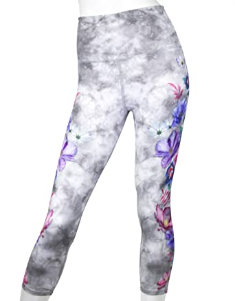 5b676549ae EVCR Floral Stitching HIGH-Waisted Capri Soft Non See-Through Everyday Yoga  Leggings at Amazon Women's Clothing store: