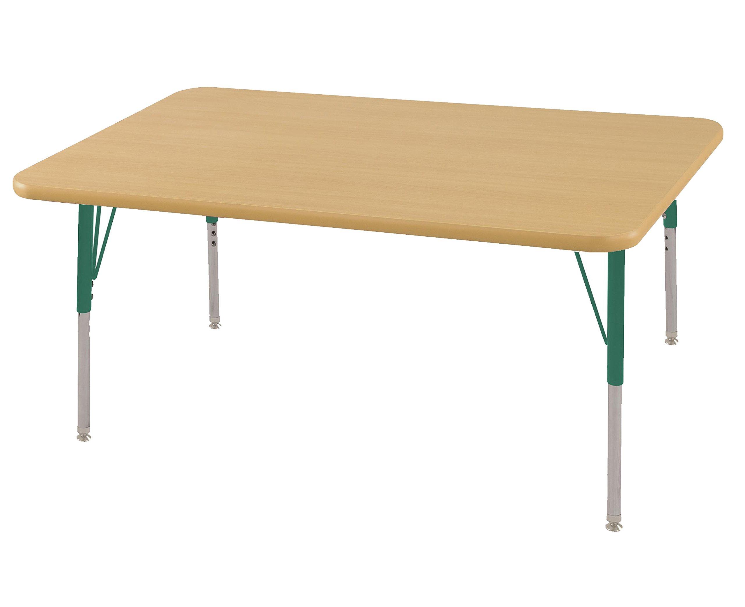 ECR4Kids Mesa T-Mold 30'' x 48'' Rectangular School Activity Table, Standard Legs w/ Swivel Glides, Adjustable Height 19-30 inch (Maple/Green)
