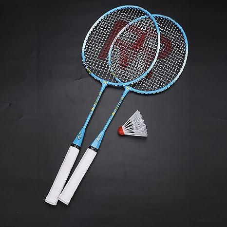 Voberry Ensemble de Raquette de Badminton,Rythme Bicolore pour labsorption des Chocs /à la Maison,Raquette de Badminton avec Peinture m/étal,/Équipement de Fitness /à Domicile
