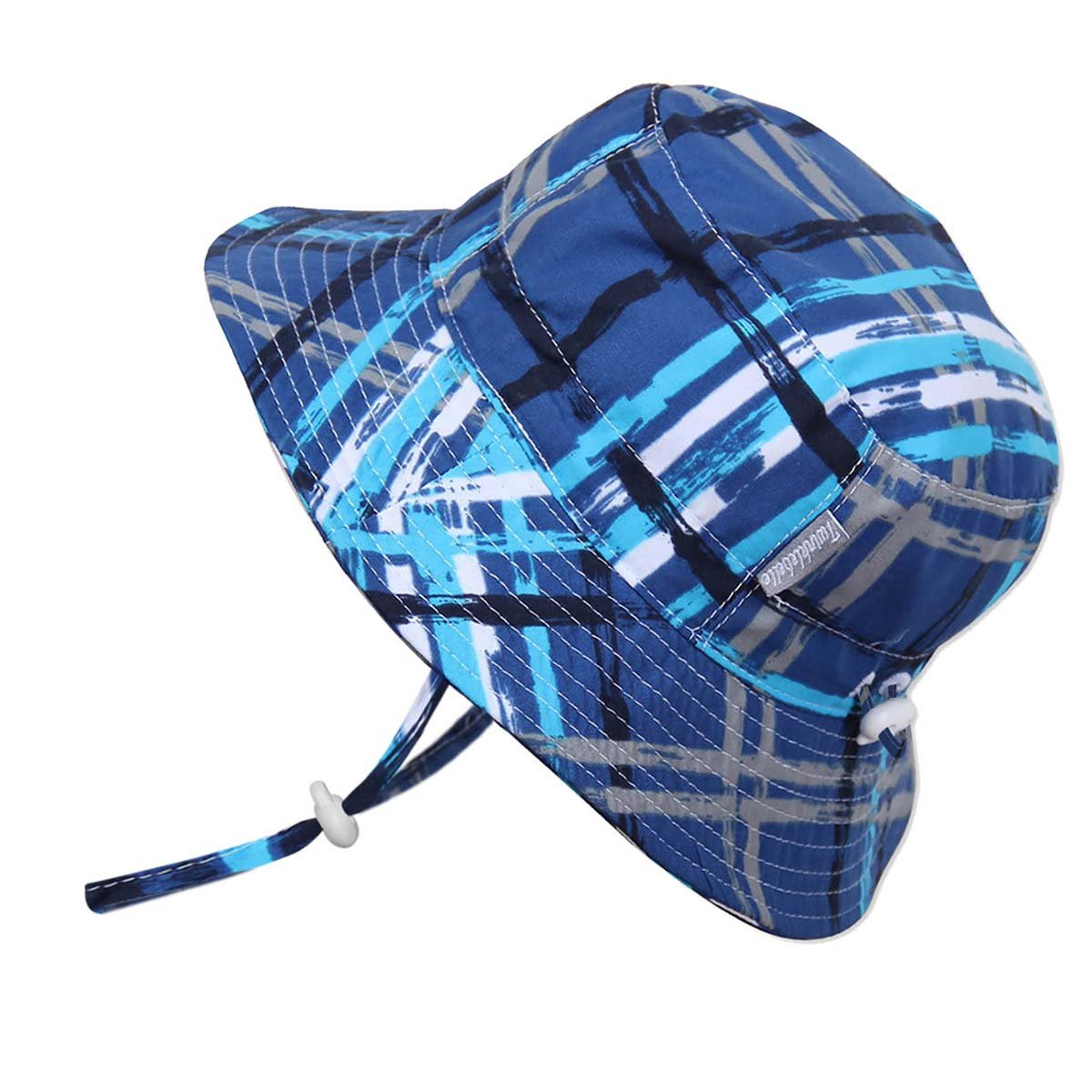Kids 50+ UPF Bucket Sun Hat, Size Adjustable Aqua Dry (L: 15m - 5Y, Blue Plaid)
