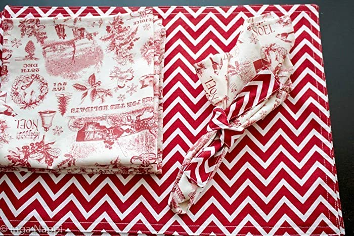reversible fabric christmasnew yearplacemats and napkins - Christmas Placemats And Napkins