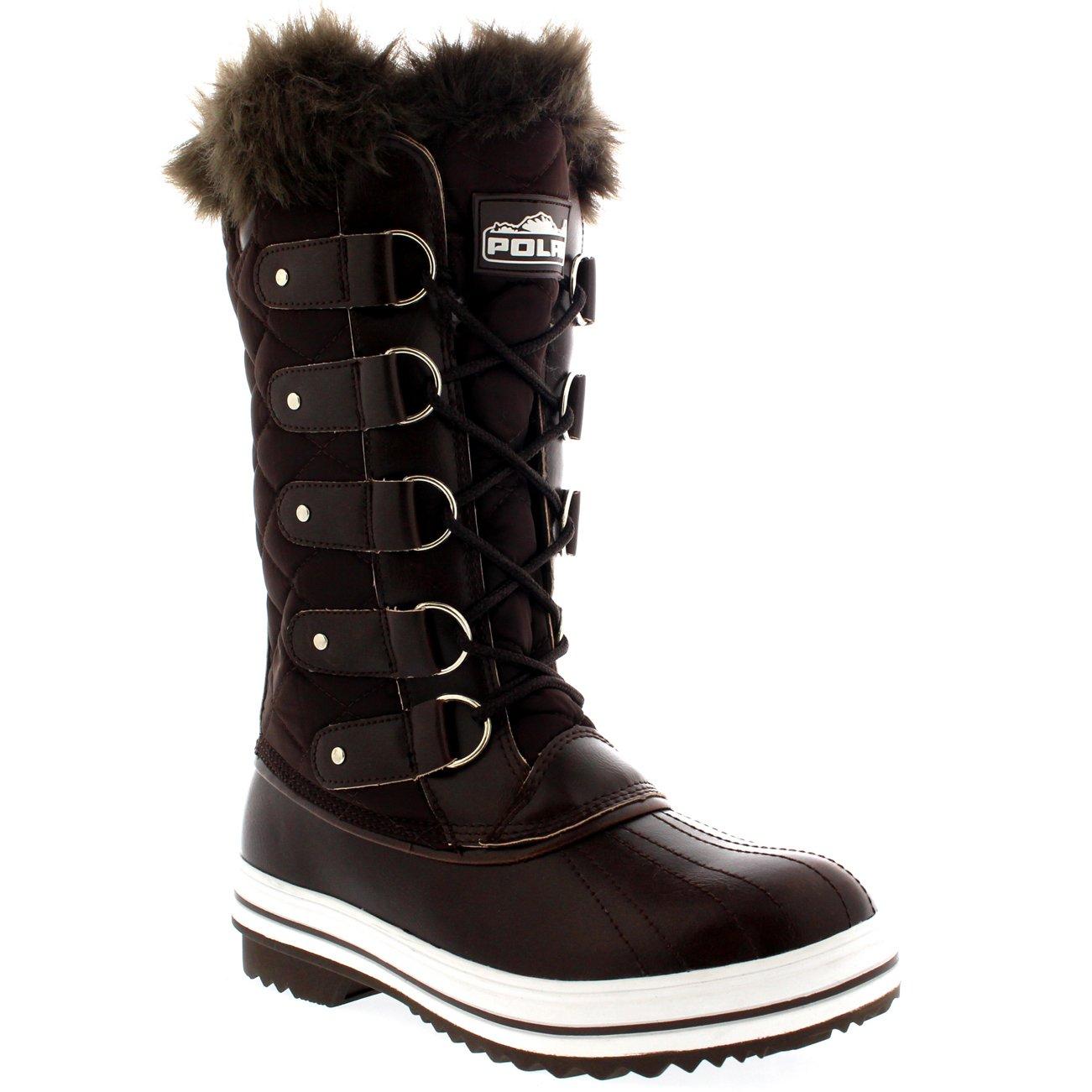 65655572f56 Polar Womens Snow Boot Quilted Tall Winter Snow Waterproof Warm Rain Boot