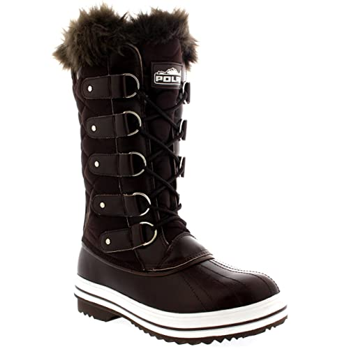 357a9811f31 POLAR Womens Snow Boot Nylon Tall Winter Snow Waterproof Warm Rain Boot -  Brown - 3