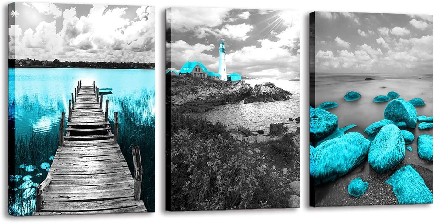Ocean Beach Canvas Wall Art Black and White Lighthouse Pictures Print Bridge Teal Wall Art Artwork for Decor Bedroom Bathroom Living Room