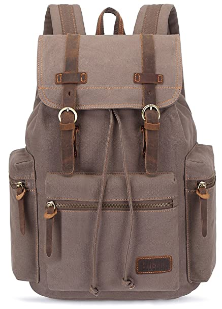 015054a32 SUPTOON Canvas Vintage Rucksacks Unisex Casual Backpacks (New Army green)