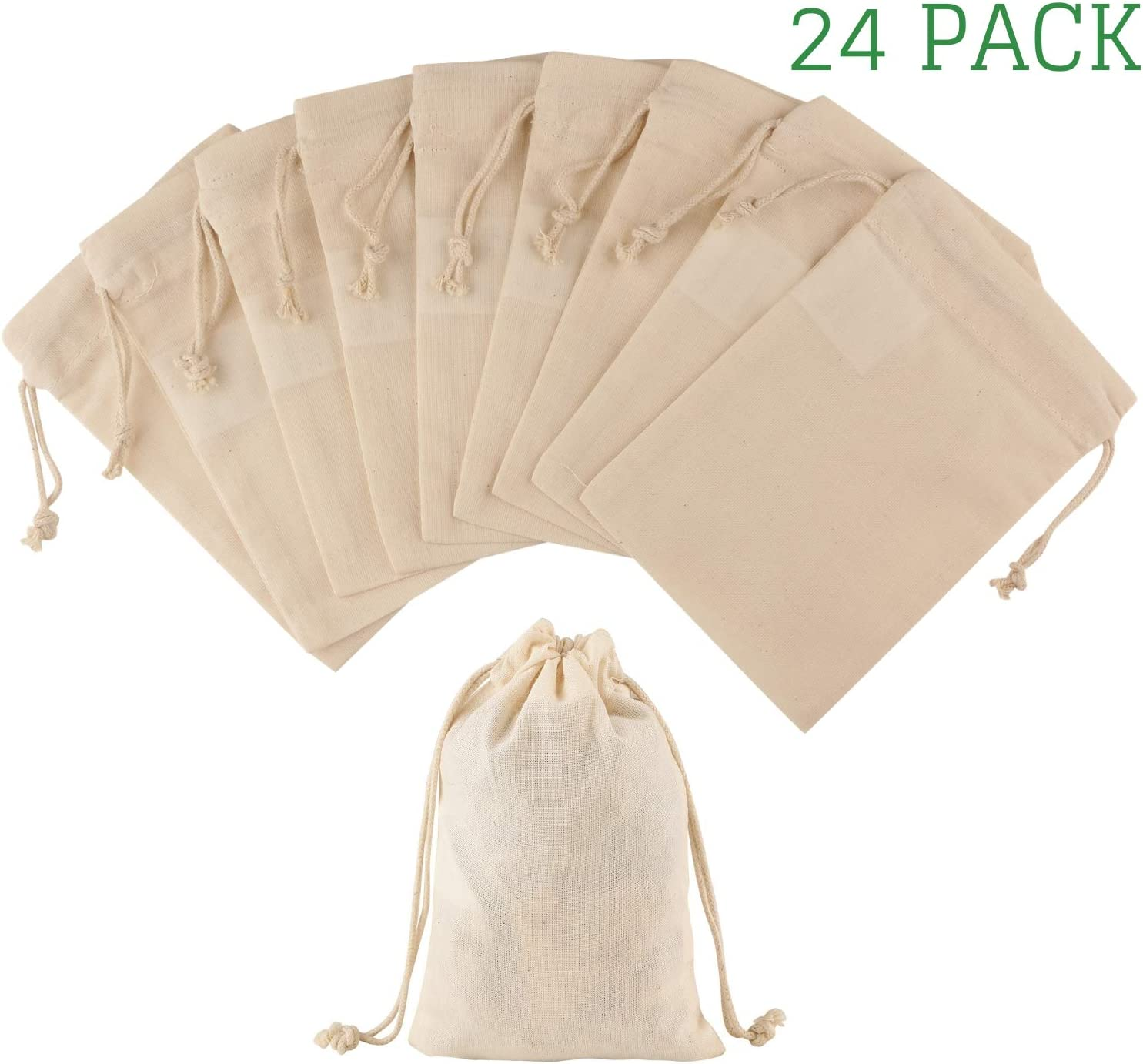 Greenmile 24 Pack Organic Cotton Muslin Bags | 4x6"