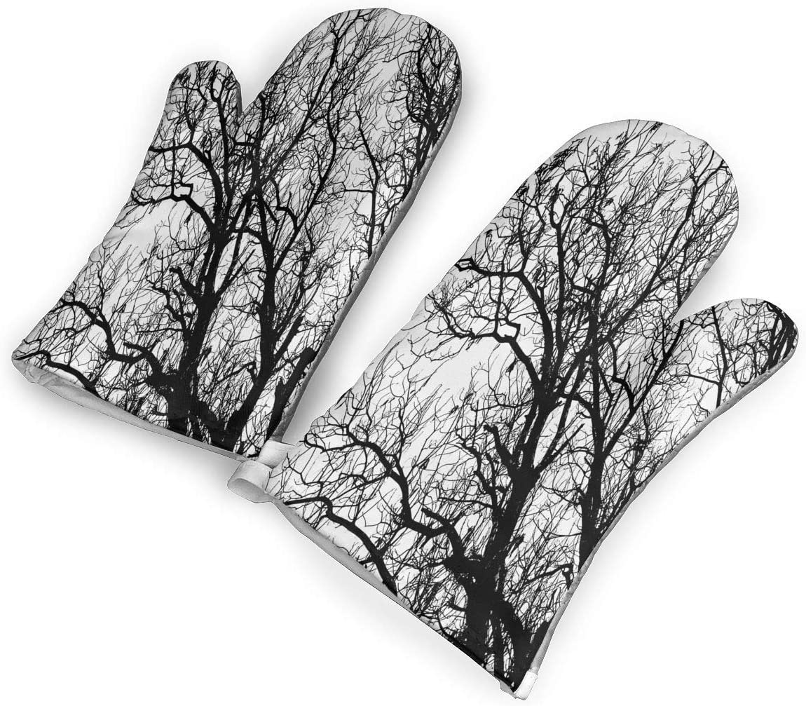 Leafless Autumn Fall Tree Branches Tops Oak Forest Woodland Season Eco Theme Oven Mitts 1 Pair,Non-Slip Oven Mitts,Extra Long Heat Resistant Oven Gloves Pot Holder for BBQ Cooking Baking,Grilling