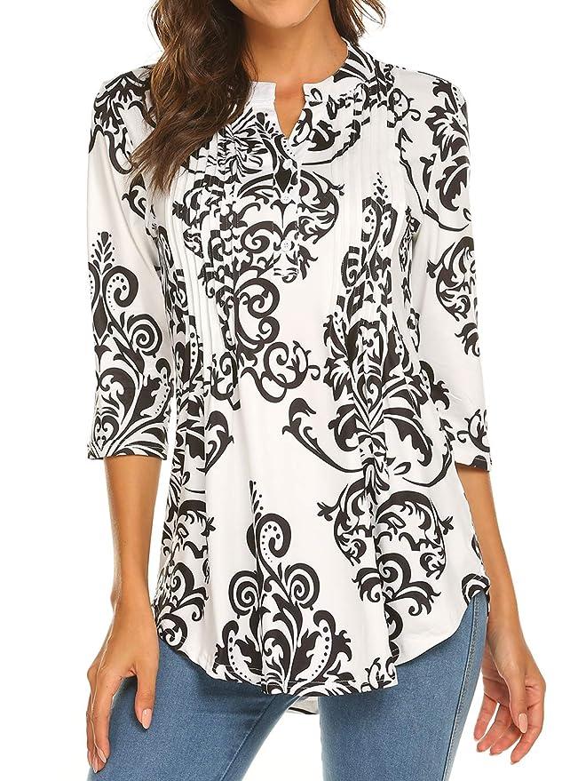 82e08b51a2d Womens Plus Size Black Long Sleeve Blouse Tops V-Neck Tunic Shirt at Amazon  Women's Clothing store: