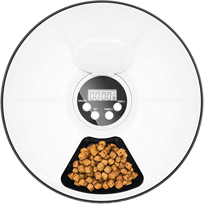 MAICHENG 6 Meal Automatic Pet Feeder-Wet and Dry Cat Food Dispenser with Programmable Timer,Portion Control,LCD Display-for Dogs Cats Small Animals-420g