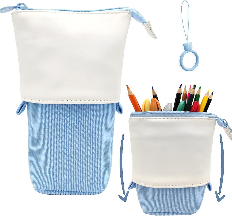 Pop Up Pencil Case Stand Up Pen Holder Cute Telescopic Pencil Pouch Office Portable Storage Pencil Bag Corduroy Pencil Box Makeup Bag Blue