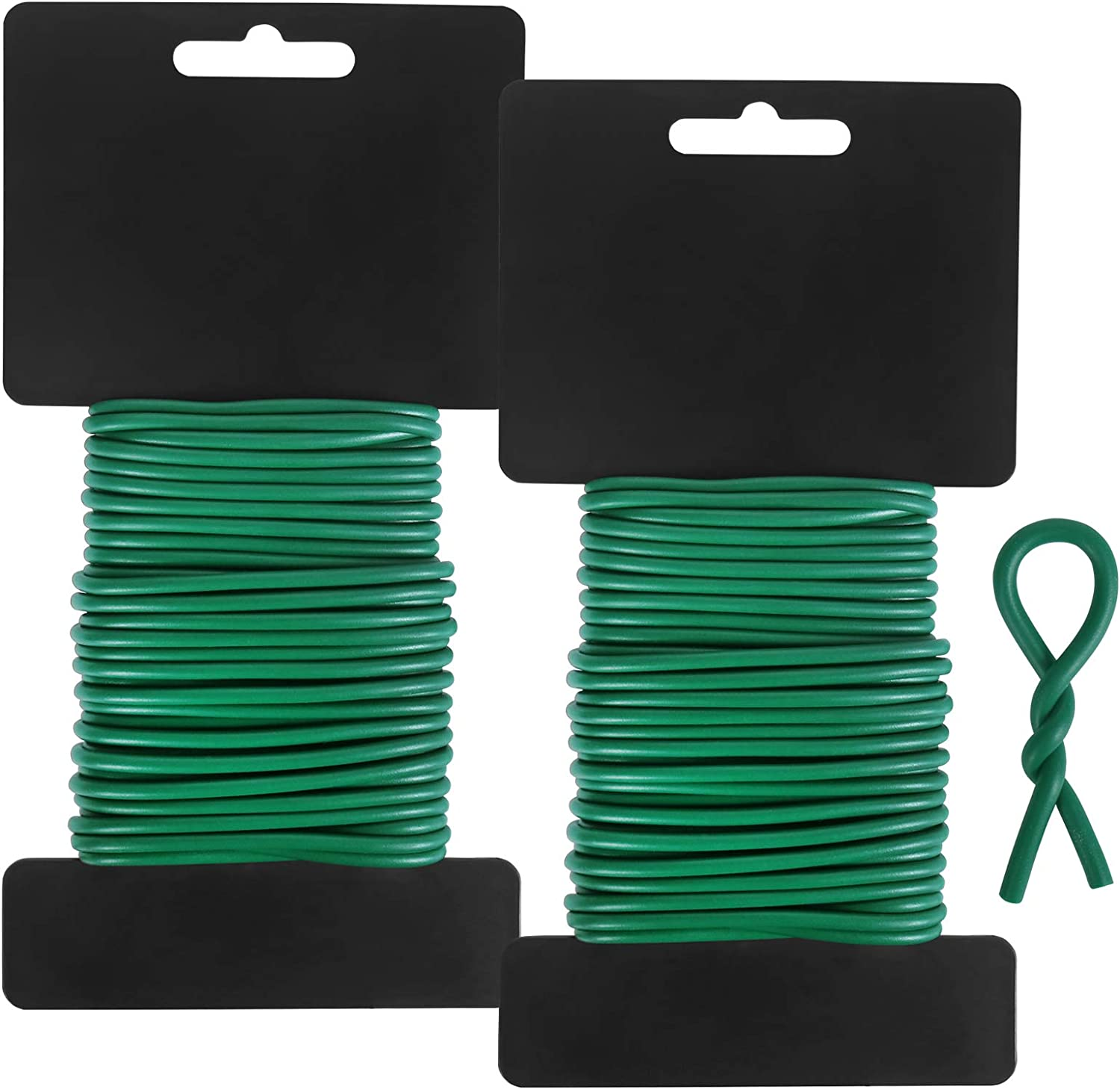 Tenn Well 3.5mm Soft Garden Twist Ties, 52 Feet Green Plant Training Wires for Tomato Plants, Climbing Roses, Vines and Cucumbers (2PCS X 26 Feet)