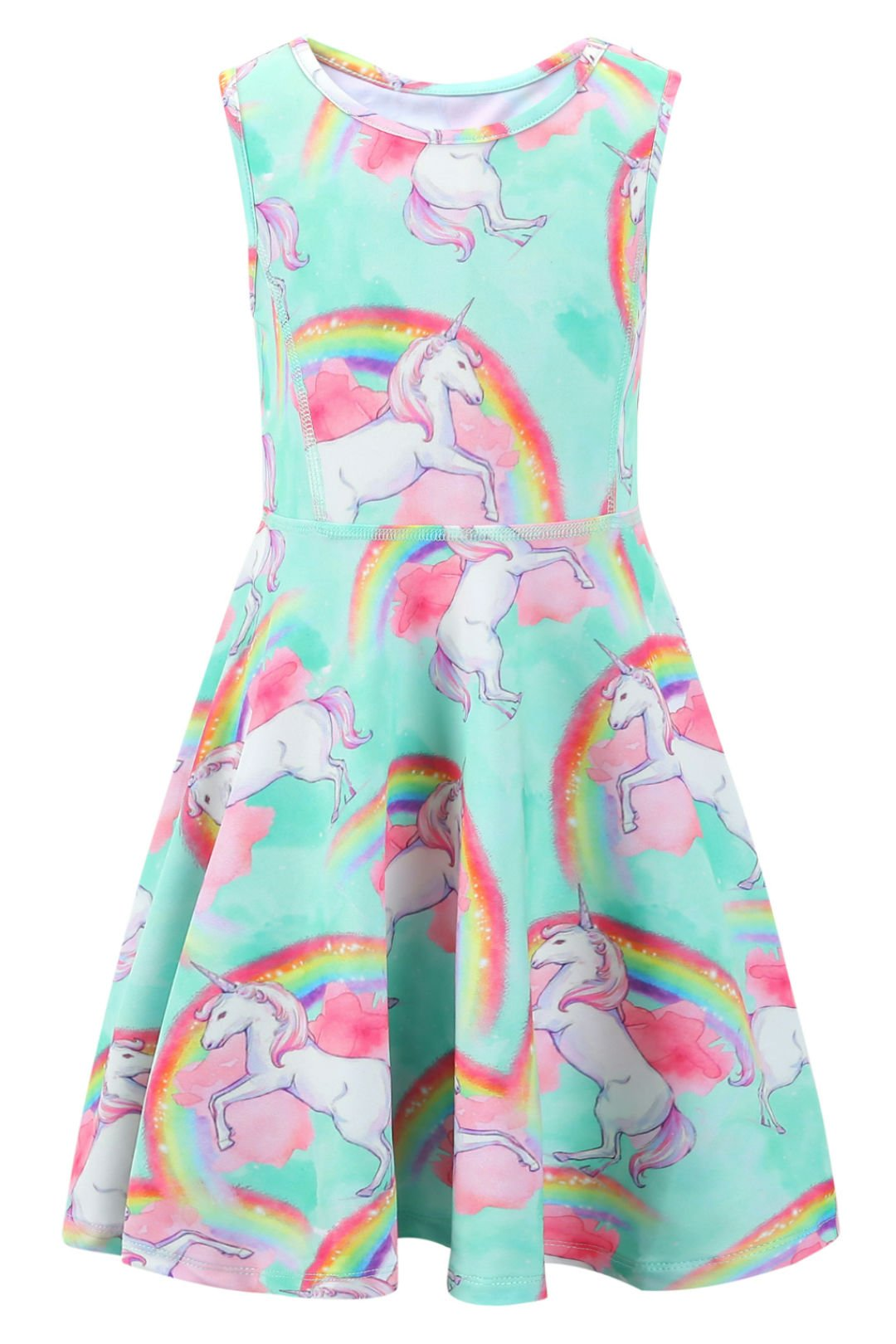 Liliane Unicorn Dress Tutu Dress for Girls Summer Dresses for Girls(A008,10-11Y)