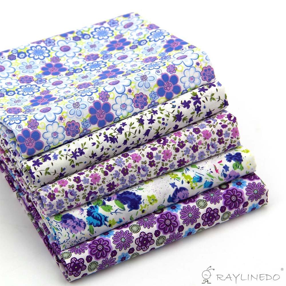 raylinedo/® 15/pcs verschiedene Muster Multi Color 100/% Baumwolle Popeline Stoff Fat Quarter Bundle 45,7/x 55,9/cm Patchwork Quilting Stoff blau gr/ün und violett Serie