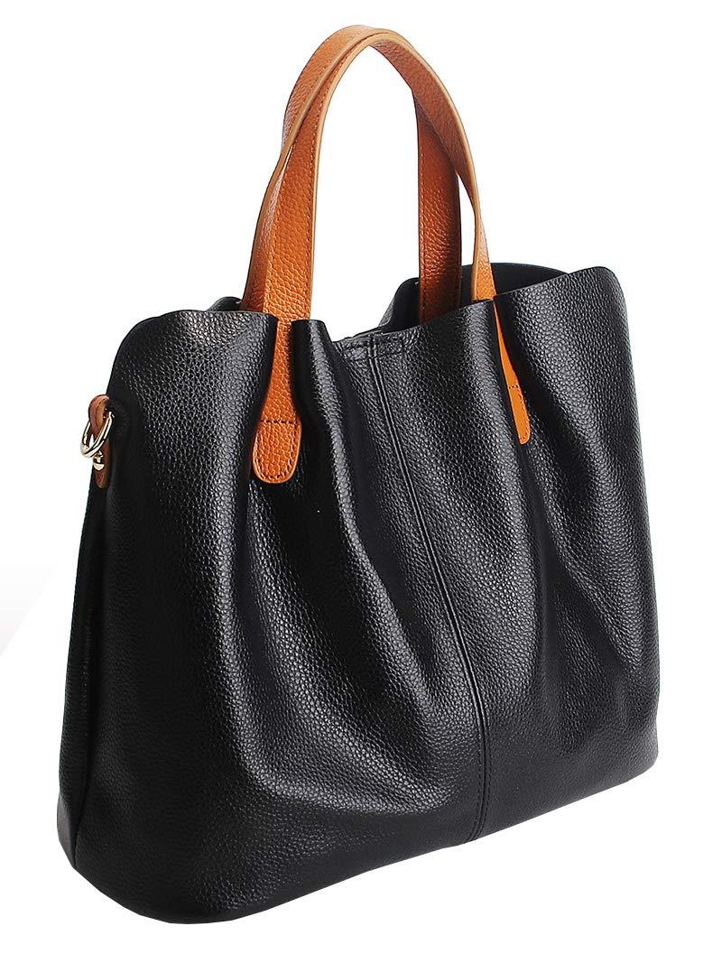 Molodo Womens Satchel Hobo Top Handle Tote Geuine Leather Handbag Shoulder Purse,Black,Large by Molodo (Image #2)