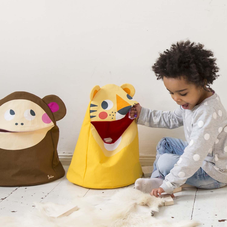 JulicaDesign Kinder Spielzeugtasche Utensilo | Tiger | Spielzeug Aufbewahrung im Kinderzimmer | Aufbewahrungssack mit Deckel und Tier Motiv | Oeko-TEX® Standard