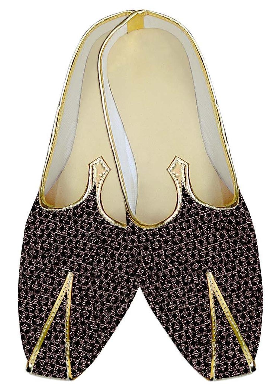 INMONARCH Hombres Negro y Rosa Zapatos de Boda Elegante MJ14092 37.5 EU