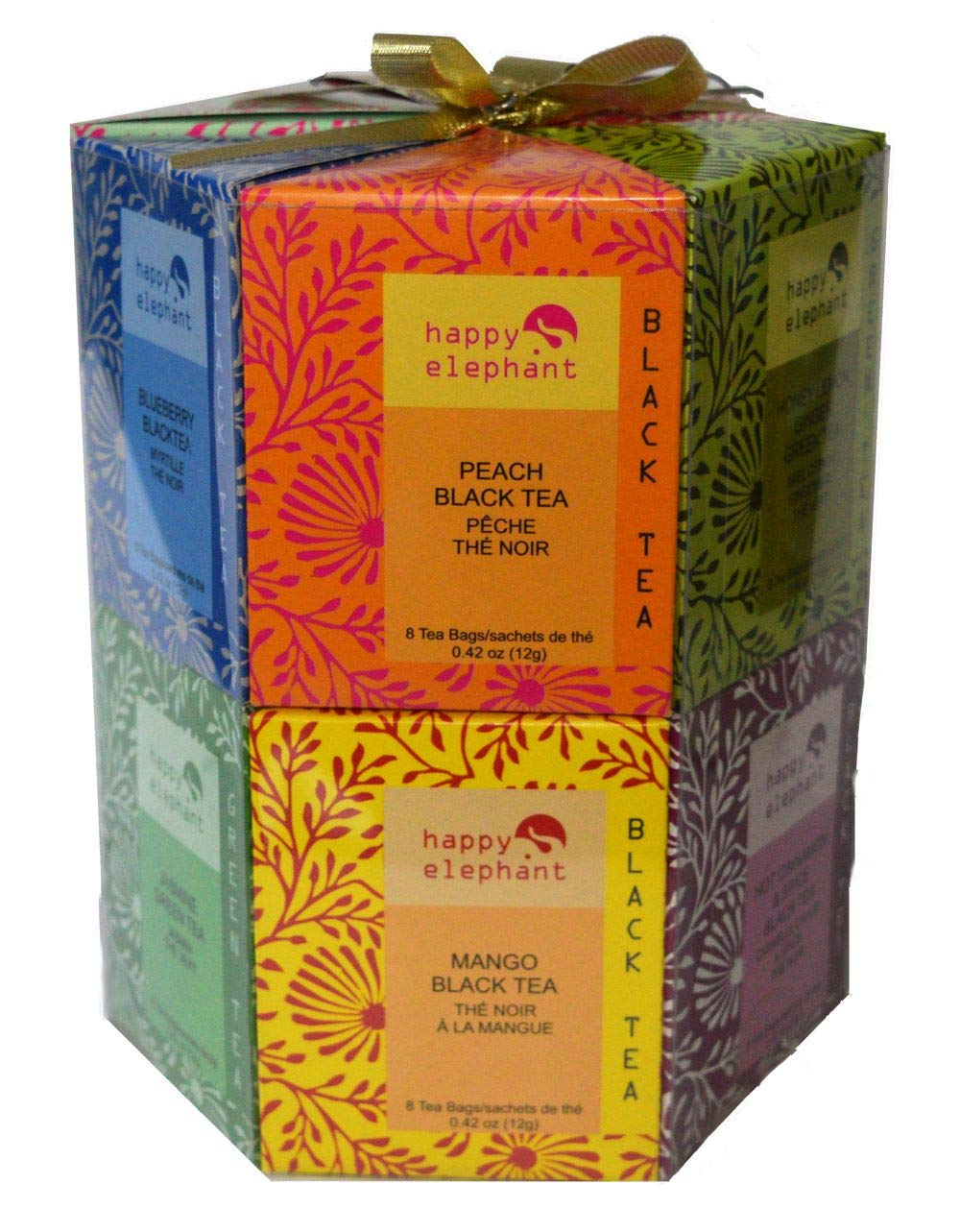 Happy Elephant Hexagon Gift Box 96 Tea Bag 12 Assorted Exotic Flavours