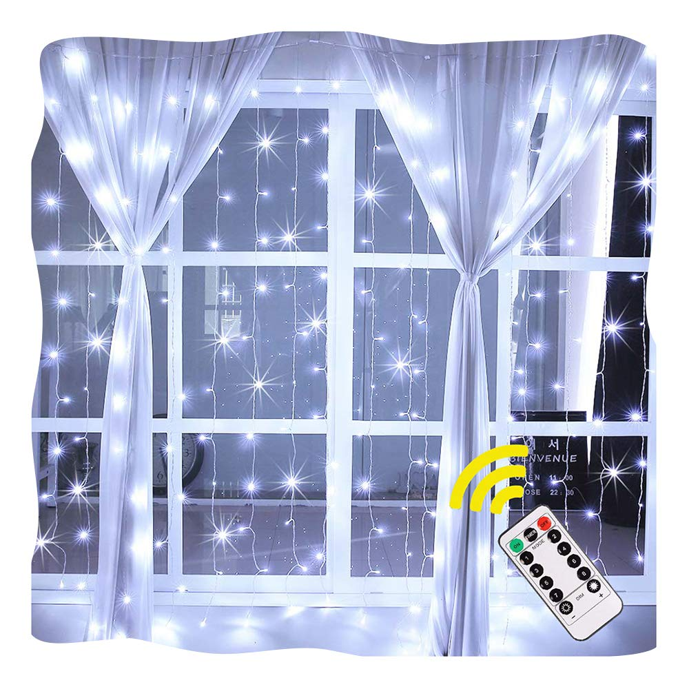 Ollny Window Curtain Light 192 LEDs Icicle Fairy String Christmas Lights for Bedroom Wedding Garden Patio Wall Outdoor Decoration Low Voltage Ul List with Remote Plug in 6.6ft x 6.6ft(White)