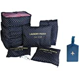 NOVAGO Ensemble 7 sacs complets de différentes tailles, organisateurs de valise et voyage + 1 étiquette de bagage offerte (Pois Bleus)