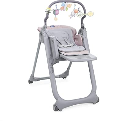 Chicco Polly Magic Relax Highchair Paradise Pink, Recliner from Birth, Toybar Included, 4 Wheels and Compact for Storage