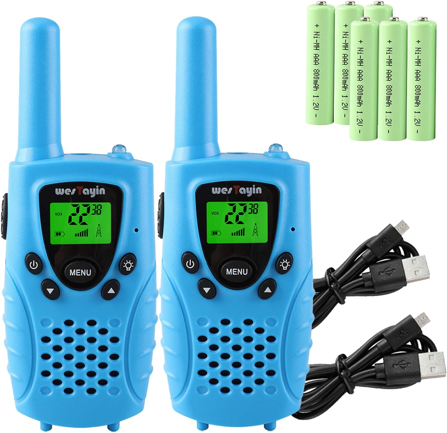 3 Pack Rechargeable Walkie Talkies with NOAA Weather Alert VOX Flashlight 4 Miles Long Range FRS//GMRS Two Way Radio with Charger Batteries Best Kid Toys Gifts Walkie Talkies for Kids