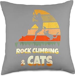 Rock Party Climbing Decor Rock Climbing Cats Throw Pillow