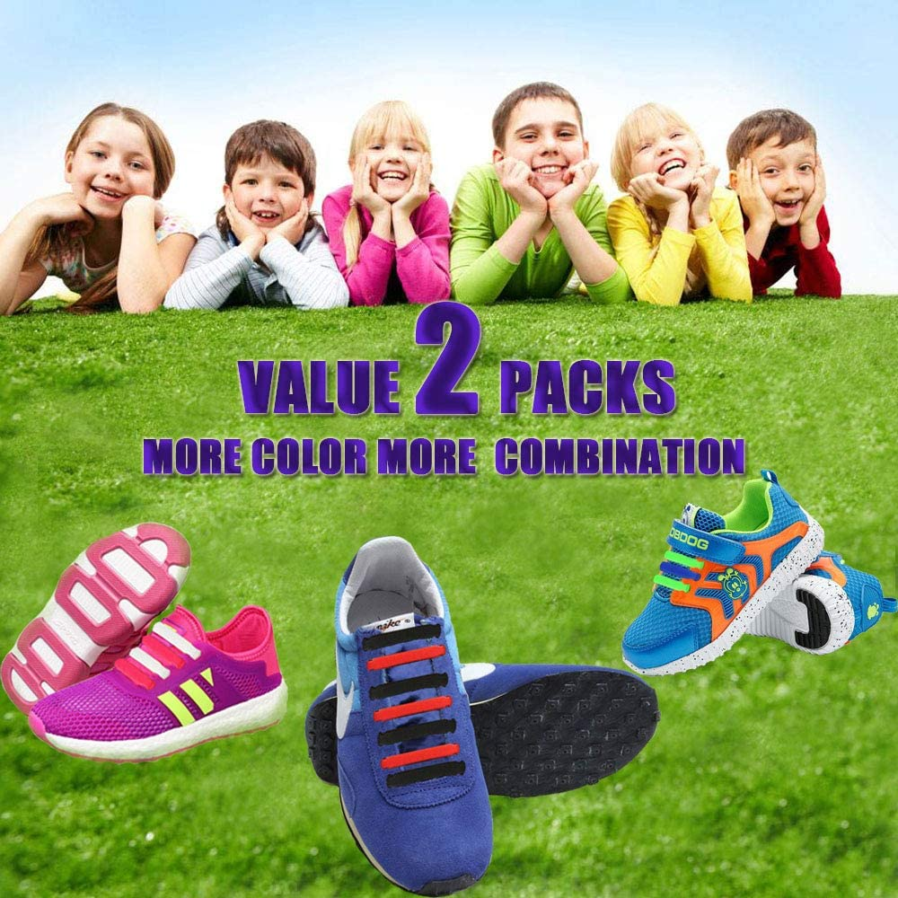 INMAKER No Tie Shoelaces for Kids and Adults, 2 Pack Elastic Sneakers Shoe Laces…: Clothing