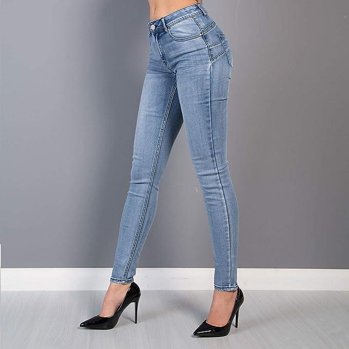 Jeans donna pantaloni elasticizzati casual denim slim fit leggings skinny h7992