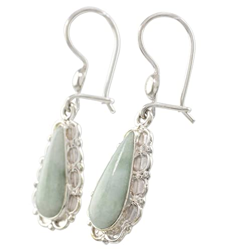 NOVICA Jade and .925 Sterling Silver Flower Dangle Earrings, Blossoming Green Dew