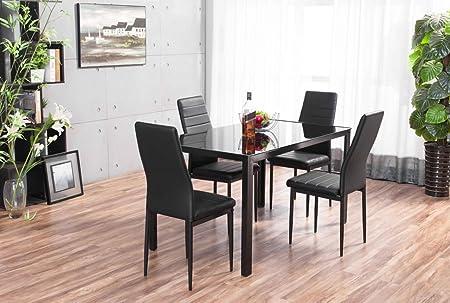 FurnitureboxUK® Roma Designer Rectangle Glass Dining Table Set and 4 Black Montero Faux Leather Chairs & FurnitureboxUK® Roma Designer Rectangle Glass Dining Table Set and 4 ...