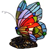 Bieye L10042 Butterfly Tiffany Style Stained Glass Accent Table Lamp Night Light for Bedside Bedroom Living Room (Multi…