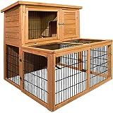 Rabbit Hutch Chicken Wooden Coop Guinea Pig Ferret Cage Hen House 2 Storey Run