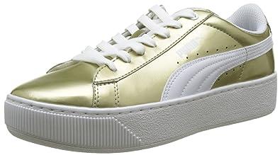 2893fb9bfc Puma Damen Vikky Platform Metallic Sneaker, Beige Gold White 01, 36 EU