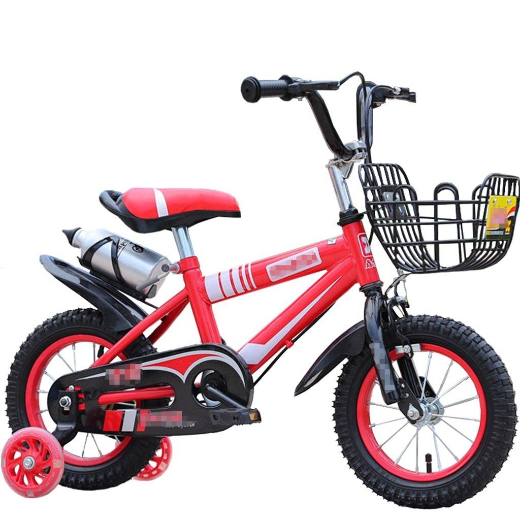 KANGR-子ども用自転車 子供の自転車マウンテンバイクに適した2-3-6-8男の子と女の子子供用おもちゃのハンドルバー/サドルの高さは、フラッシュトレーニングホイールで調節できます。ウォーターボトルとホルダー-12 / 14/16/18インチ ( 色 : 赤 , サイズ さいず : 14 inch ) B07BTYC8LR 14 inch 赤 赤 14 inch
