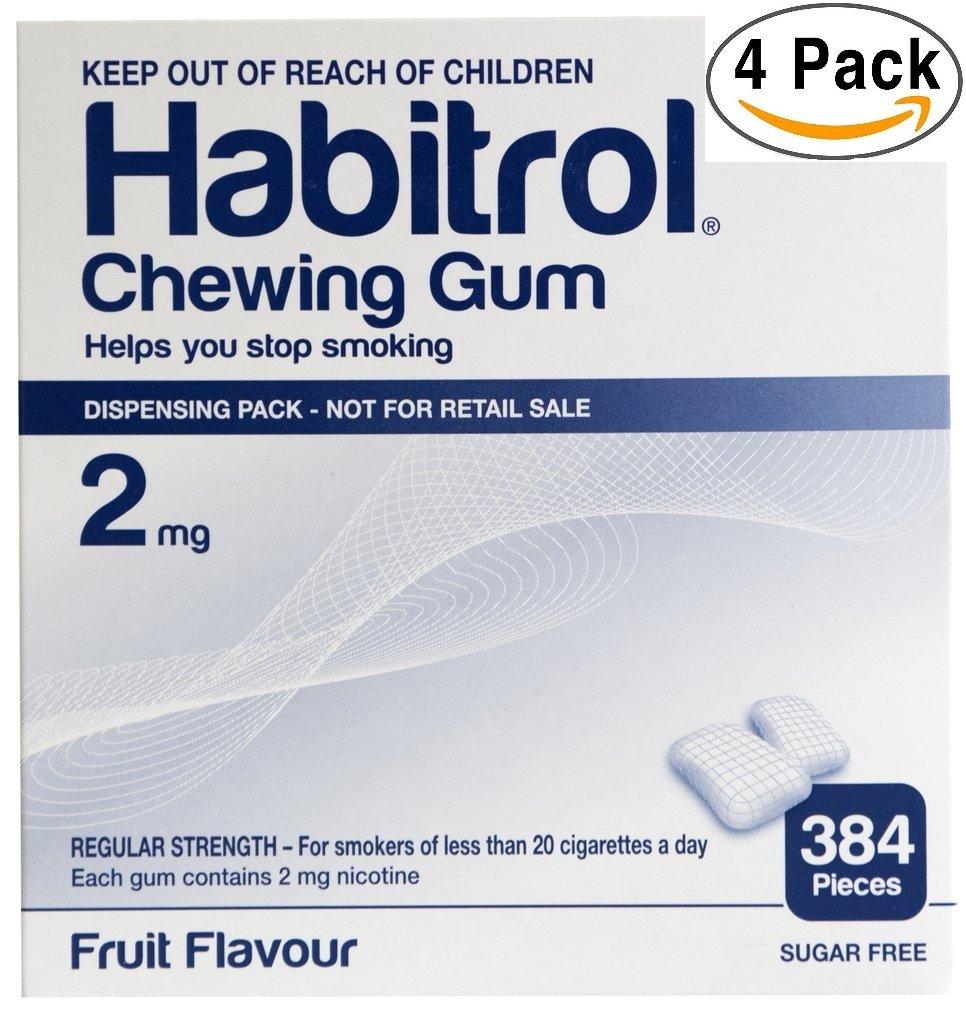Habitrol Nicotine Gum 2mg Fruit Flavor. 4 bulk packs of 384 (total 1536 pieces)