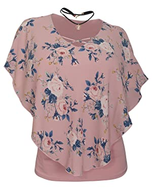 eVogues Women's Layered Poncho Top with Necklace Pink Floral Print - 1X