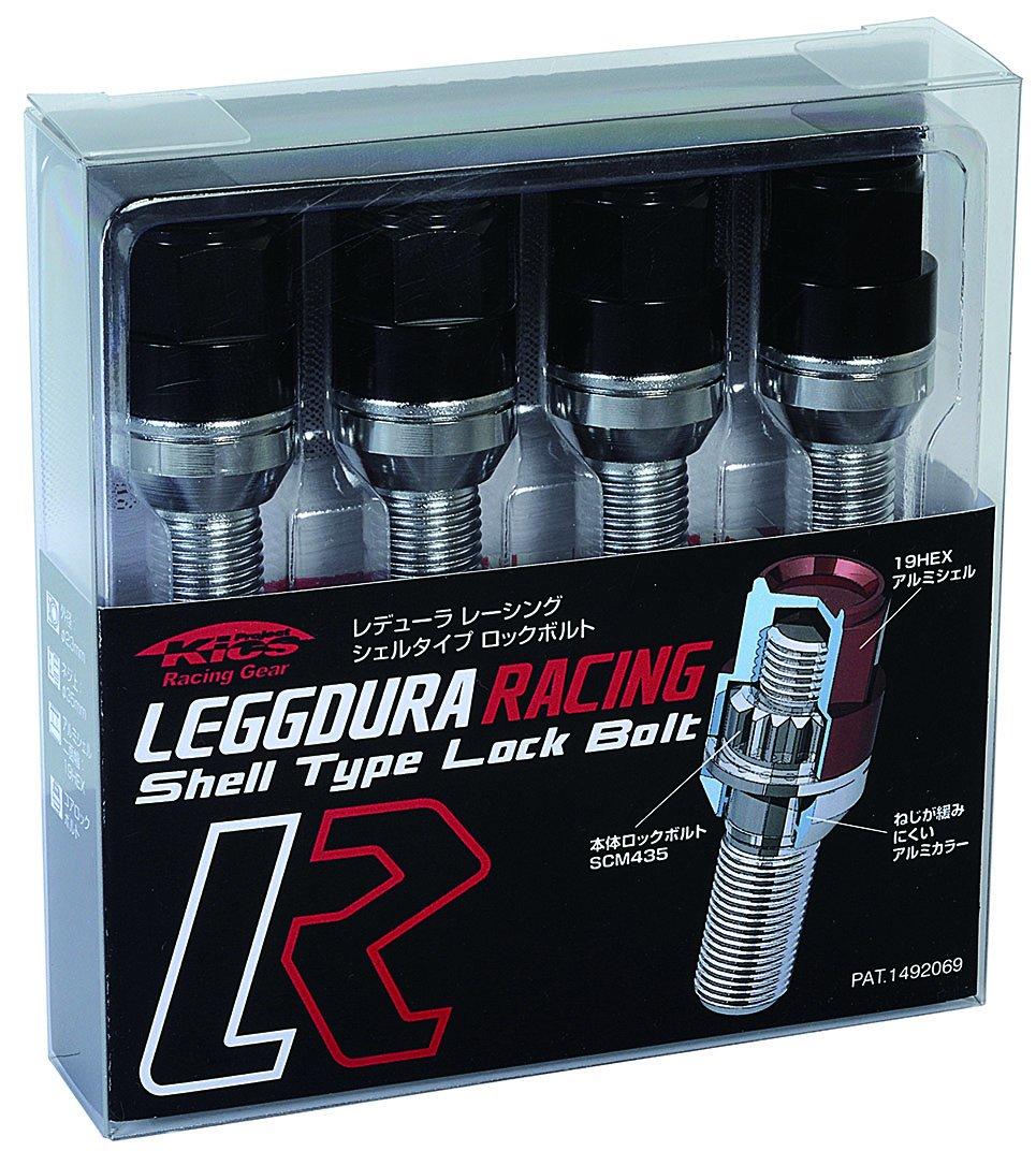 KYO-EI (協永産業) ホイールロックボルト LEGGDURA RACING Lock Bolt 【 M14 x P1.5 】 テーパー : 60° 【 首下 : 40mm 】 ブラック KIL3040K B00YDL2QK4ブラック