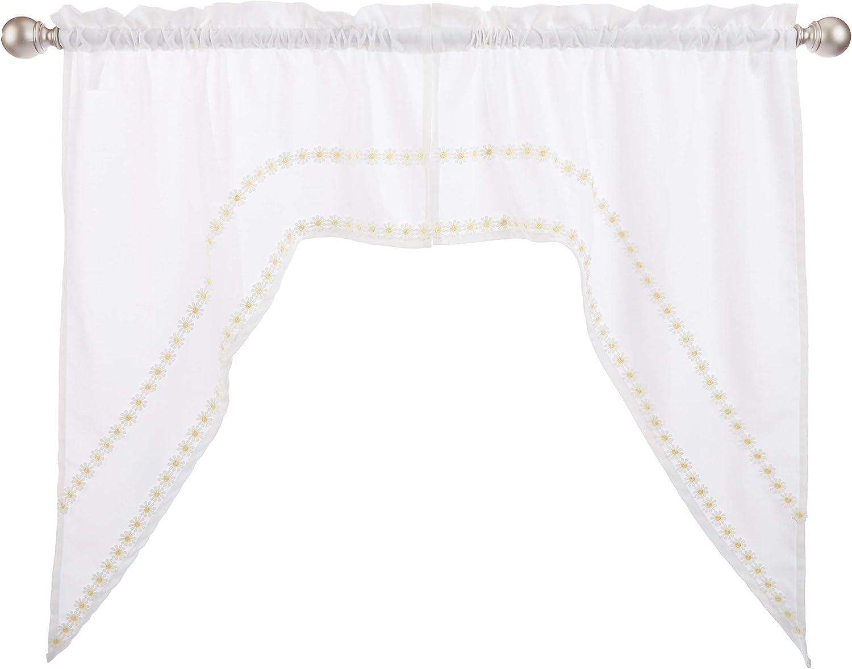 "LORRAINE HOME FASHIONS, Yellow Daisy Mae Window Curtain Swag Pair, 54"" x 38"""