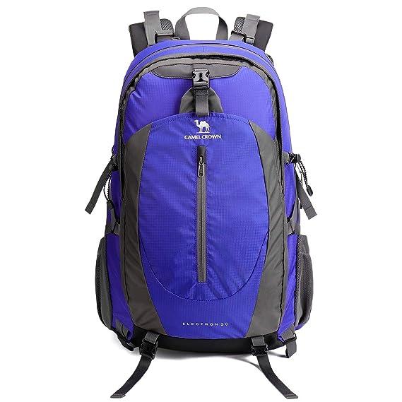 CAMEL CROWN 50L Mochila de Senderismo con Cubierta Impermeable Mochila de Caminata Daypack de Gran Capacidad para Viaje Deporte Montañismo Trekking Camping ...