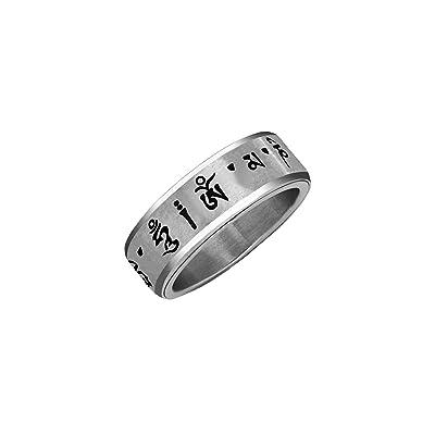 Retroworks Fidget Ring - Tibetan Buddhist Mantra Ring (Spinner Ring) Om Mani Padme Hum (Medium): Toys & Games