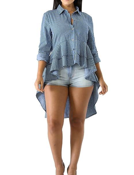 Mujeres Primavera y Otoño Camisas Chic Rayas Irregular Shirts Remata Blusa T-Shirt Moda Solapa